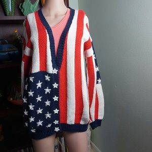 Marissa Christina Sweater US Flag Hand Knitted Med